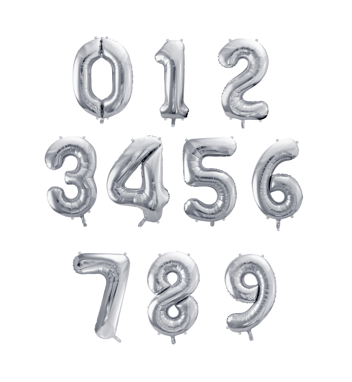 globos numeros plata