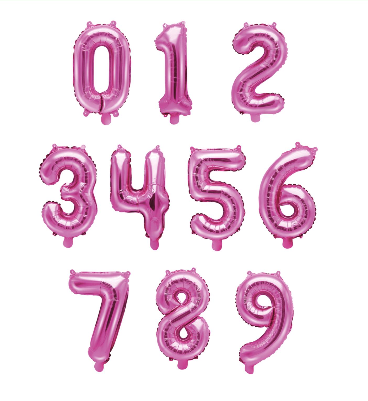 globos numeros rosa