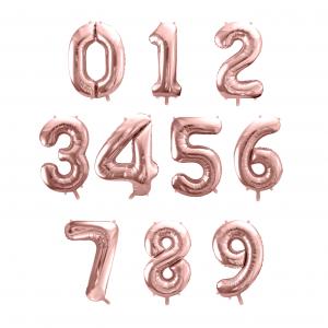 globos numero oro rosa